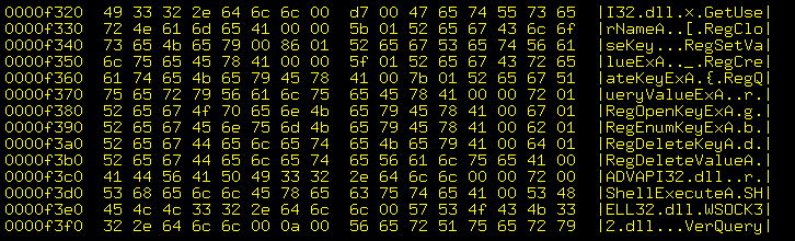Hex dump of Gibe-F worm.