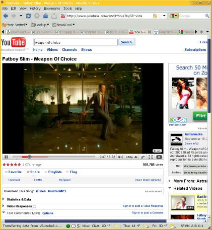 YouTube page showing the Fatboy Slim 'Weapon of Choice' music video.