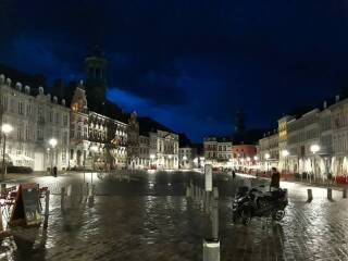 Town square in Mons in the evening.