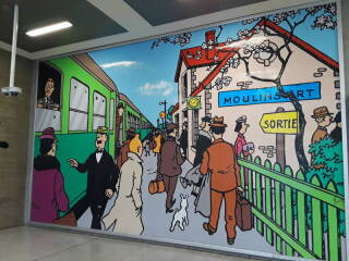 Tintin at Bruxelle-Midi, the main train station in Brussels.