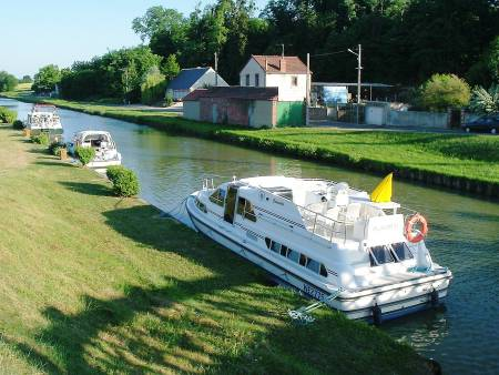 Rented canal boat on the Canal Lateral a la Loire in France.