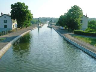 Crossing the large canal bridge at Briare on the Canal Lateral a la Loire in France.
