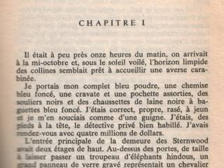 Opening page of 'The Big Sleep' in French.