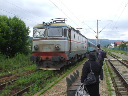 Romanian local train pulls into Gura Humorului.