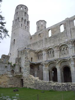 Façade of Jumièges Abbey in Normandy.