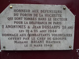 French Resistance memorial plaque.