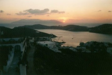 Sunset over Ios harbor.