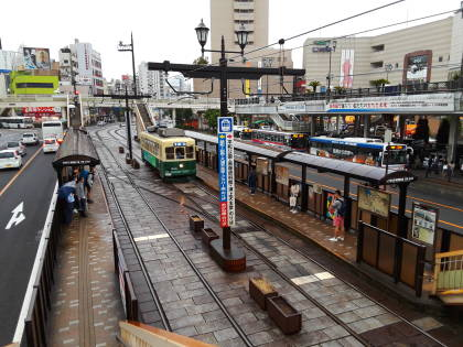 Streetcar platforms at Nagasaki train station.