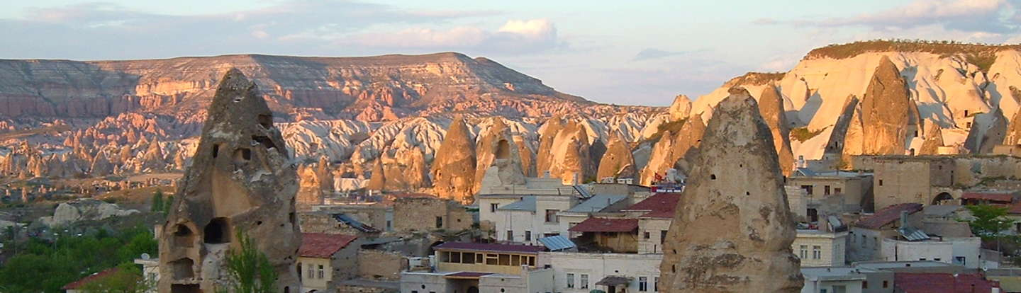 Paroramic view of Göreme village and the fairy chimneys of Cappadocia.