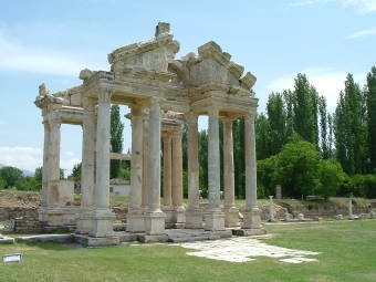 Tetrapylon at Greek religious center of Aphrodisias.