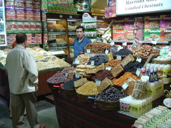 Dried fruit, nuts and spices at a shop in the Spice Bazaar in Istanbul.