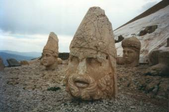 Carved stone heads at the summit of Nemrut Dağı or Mount Nemrut in eastern Turkey.