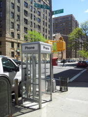One of the last four phone booths in Manhattan, at West End Avenue and West 101st Street on the Upper West Side.