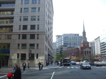 1308 H Street, Washington DC, site of Herbert O. Yardley's restaurant in 1942.  New York Avenue Presbyterian Church.  WMATA or Washington Metropolitan Area Transportation Authority bus.