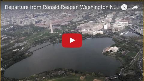 Departure from DCA in Washington DC over the National Mall, Jefferson Memorial, Washington Monument, White House, Kennedy Center, Georgetown.