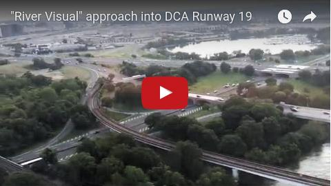 'River visual' approach into DCA in Washington DC over CIA headquarters, Rosslyn, Arlington, and the Pentagon.