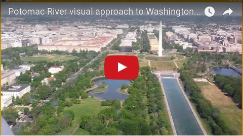 Potomac River visual approach to DCA in Washington DC over Georgetown, Kennedy Center, the National Mall, Washington Monument, Jefferson Memorial.