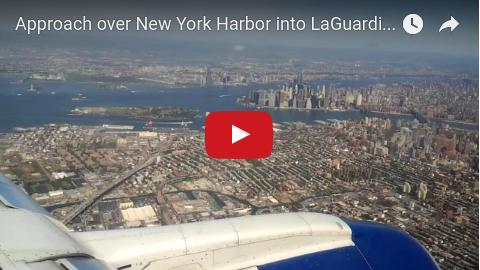 Daytime approach into LGA over New York Harbor, Manhattan, Brooklyn, Queens and the East River