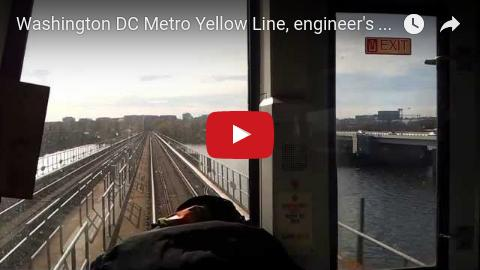 Yellow Line WMATA Metro train, engineer's view crossing the Potomac River from near the Jefferson Memorial to the Pentagon.