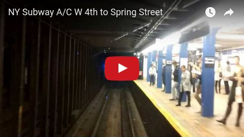 New York City MTA subway train, A/C line south from 4th Street to Spring Street.